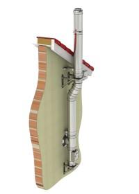 Canna fumaria esterna - kit completo - canna fumaria inox coibentata - TEC-DW-Standard - ø 130 mm