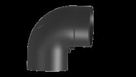Tubi per stufe a legna - Tubo ad arco 90° con ispezione - nero - TEC-Ferro-Lux