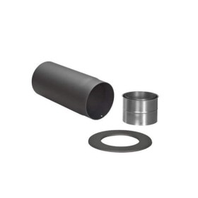 Tubi per stufe a legna - Curva (450/700 mm) con ispezione, valvola a farfalla, rosetta e ingresso canna fumaria - TEC-Ferro-Lux