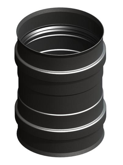 Tubi per stufe a pellet - Raccordo per caldaia con doppio manicotto - nero - Tecnovis-Pellet-Line