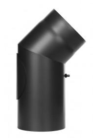 Tubi per stufe a legna - Curva 45° con ispezione - nero - TEC-Ferro-Lux