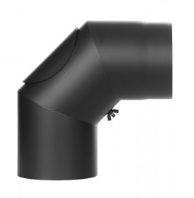 Tubi per stufe a legna - Curva 90° con ispezione - nero - TEC-Ferro-Lux
