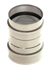 Tubi per stufe a pellet - Raccordo per caldaia con doppio manicotto - non verniciato - Tecnovis-Pellet-Line