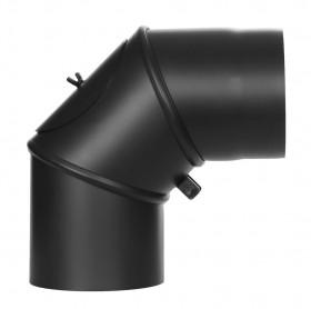 Tubi per stufe a legna - Curva orientabile 0-90° con ispezione - nero - TEC-Ferro-Lux