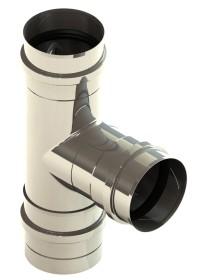 Tubi per stufe a pellet - Raccordo a T 90° con vaschetta condensa estraibile - non verniciato - Tecnovis-Pellet-Line