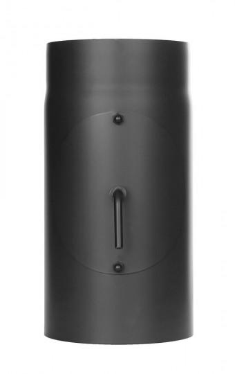 Tubi per stufe a legna - Tubo 300 mm con valvola a farfalla e ispezione - nero - TEC-Ferro-Lux
