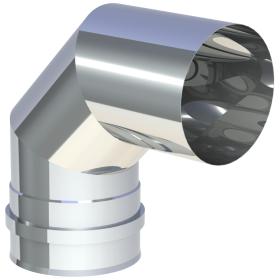 Tubi per stufe a pellet - Curva 90° con doppio manicotto - non verniciato - Tecnovis-Pellet-Line
