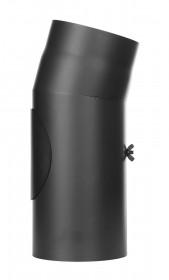 Tubi per stufe a legna - Curva 15° con ispezione - nero - TEC-Ferro-Lux