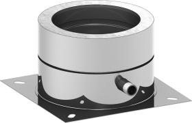 Canna Fumaria - Piastra di base per montaggio a terra  con scarico condensa laterale - doppia parete - TEC-DW-Standard