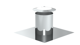 Canna Fumaria - Faldale cilindrico per tetti piani con scossalina - doppia parete - TEC-DW-Standard