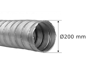 Canna fumaria flessibile - doppia parete ø 200 mm - tubo flessibile in acciaio inox