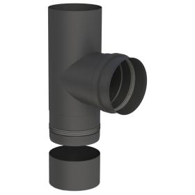 Tubi per stufe a pellet - Raccordo a T 90° con vaschetta condensa estraibile - nero - Tecnovis-Pellet-Line