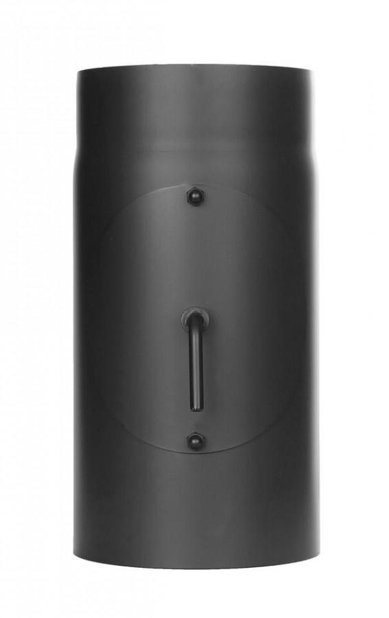 Ofenrohr FERRO1464 - Längenelement 300 mm schwarz mit Drosselklappe und Tür