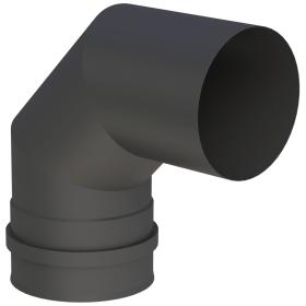 Tubi per stufe a pellet - Curva 90° con doppio manicotto - nero - Tecnovis-Pellet-Line